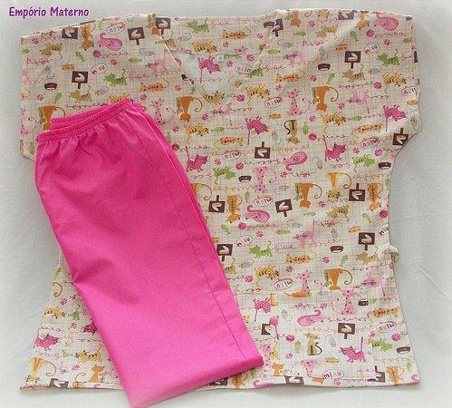 Pijama Cirúrgico - Gatinhos 01 - Manga Japonesa SEM BORDADO - Confecção 7 dias úteis