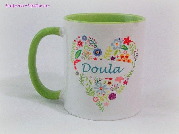 Xícara Cerâmica Personalizada - Branco com verde