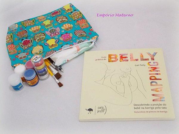 Livro Belly Mapping + Kit para pintura de barriga  - Tecido digital corujas