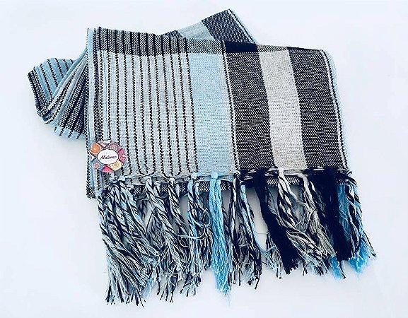 Rebozo Nacional - Multicor azul com preto