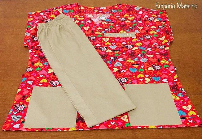 Pijama Cirúrgico Personalizado - Estampas Promocionais - Manga Japonesa - Gola V - Com bordado