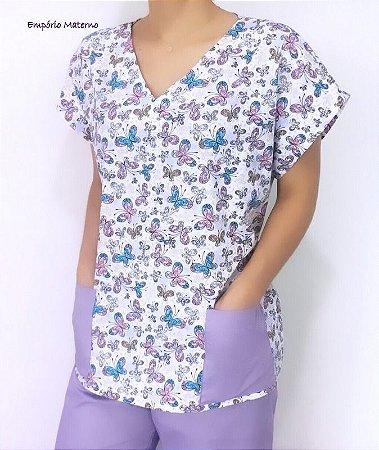 Pijama Cirúrgico Manga Japonesa - Gola V - Blusa estampada borboletas 03 - LEIA DESCRIÇÃO