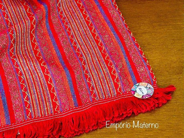 Rebozo Nacional - Multicor Vermelho Mexicano