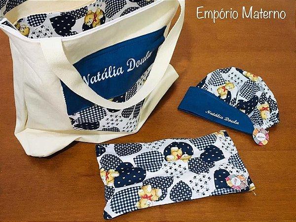 Bolsa personalizada Urso 01 + Touca - com bordado + Bolsa térmica multiuso