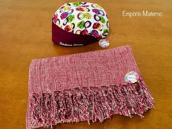 Rebozo Nacional bordo + Touca Matrioskas 01 - com bordado