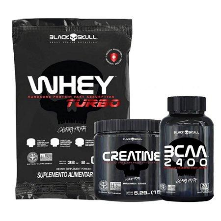 Combo Black Skull - Whey Turbo 900g + BCAA 2400 30 Caps + Creatine 150g