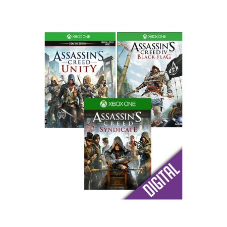 Xbox One Pacote Assassin's Creed com Syndicate + Unity + Black Flag [Midia digital]
