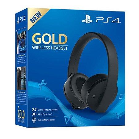 PS4 Headset Gold Wireless 7.1 NOVO MODELO