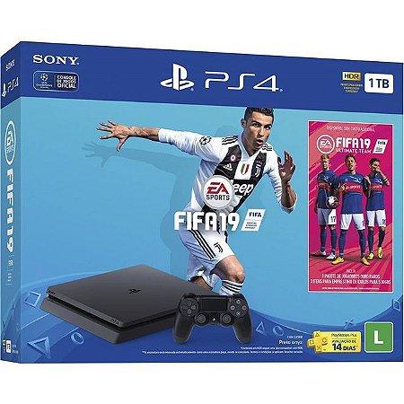 PlayStation 4 Slim 1TB com FIFA 19 com Pack Ultimate Team