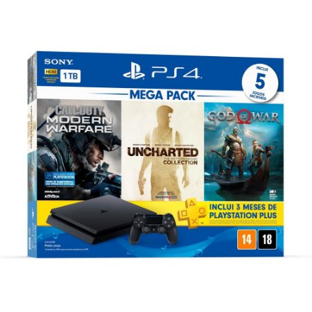 PlayStation 4 Slim 1 TB Call of Duty: Modern Warfare + Uncharted: Nathan Drake Collection + God of War 4 + 3 Meses Playstation Plus