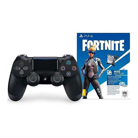 PS4 Controle Dual Shock 4 Preto Pacote Neo Versa Fortnite