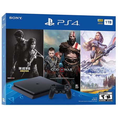 PlayStation 4 Slim 1 TB The Last Of Us Remastered + God of War + Horizon Zero Dawn Complete Edition