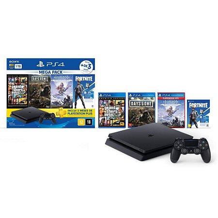 PlayStation 4 Slim 1 TB GTA V + Days Gone + Horizon Zero Dawn + Voucher Fortnite Neo Versa + 3 Meses Playstation Plus