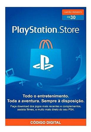 Cartão PSN PlayStation Network Brasil de R$ 30 Reais