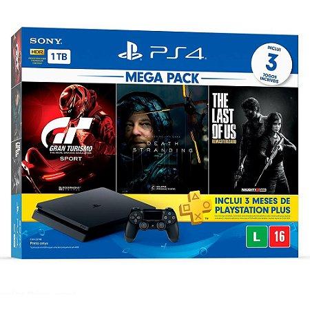 Playstation 4 Slim 1TB Bundle 10 + Gran Turismo Sport + Death Stranding + The Last of Us Remasterizado + 3 Meses Playstation Plus