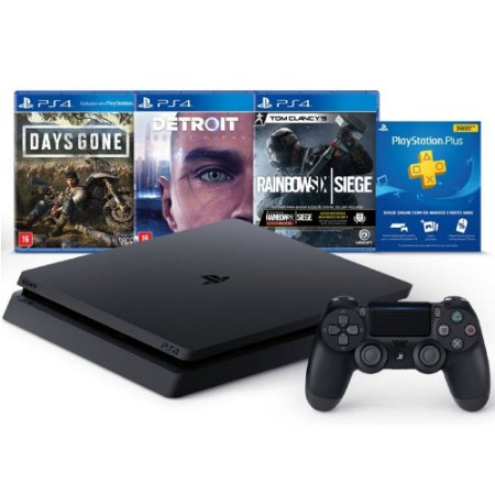 PlayStation 4 Slim 1 TB Days Gone + Detroit Become Human + Tom Clancy's Rainbow Six + 3 Meses PSN PLUS