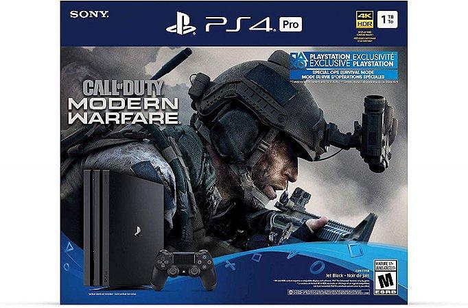 Playstation 4 Pro 1TB Preto + Call of Duty Modern Warfare