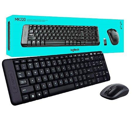 Combo Teclado E Mouse Sem Fio Logitech Mk220 Com Design Compacto, Conexão Usb.