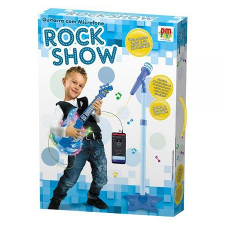 Guitarra Com Microfone Pedestal Rock Show - DM Toys