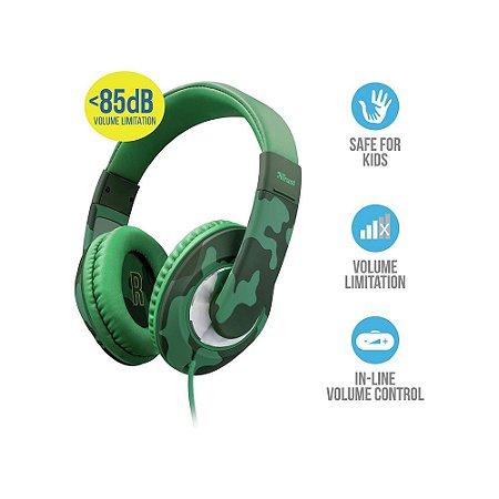 Fone de Ouvido Headphone Trust Sonin Kids com Controle de Volume Urban Camuflado