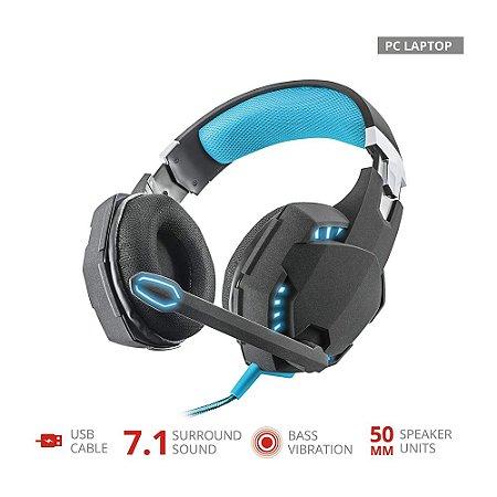 Headset Gamer Trust 7.1 Vibration GXT 363 Hawk Iluminado USB