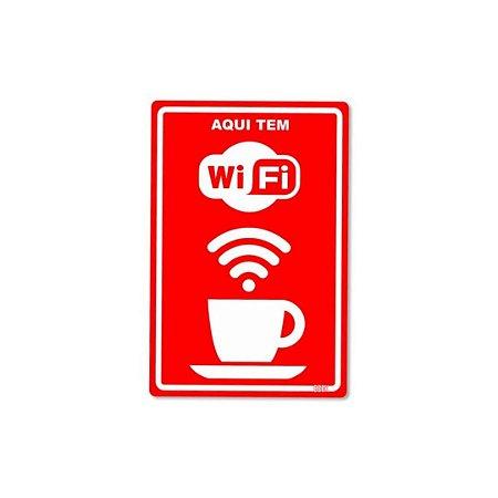 Placa Decorativa 24x16cm Aqui tem Wifi