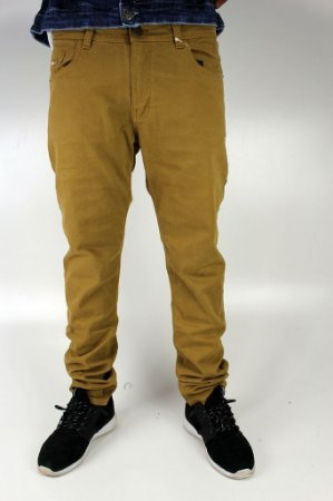 Calça Qix Skinny Sarja Amarelo Queimado