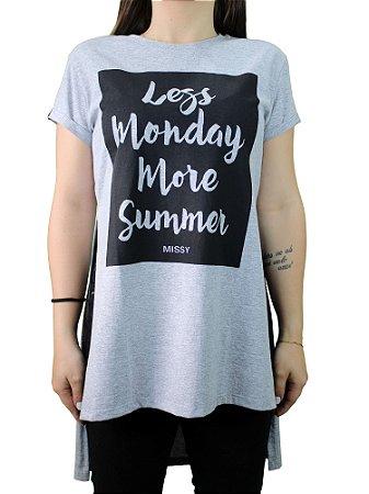 Camiseta Qix Missy Fendas Laterais