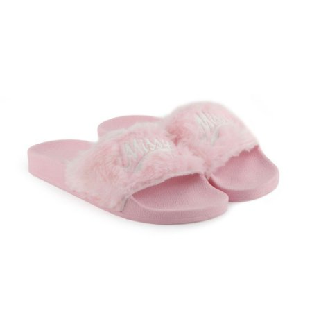 Chinelo MISSY Slide Rosa Fluffy