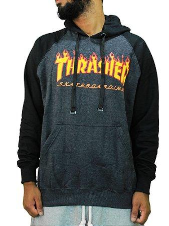 Moletom Thrasher Raglan Flame Cinza Escuro/Preto