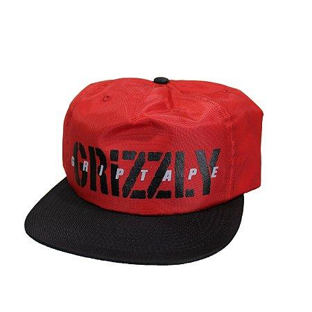 Boné Grizzly Highs Low vermelho 5 paineis