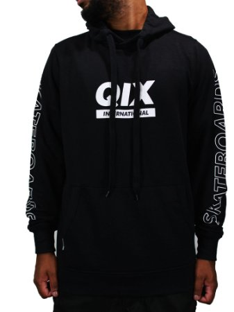 Moletom Qix International Skt Preto com Capuz