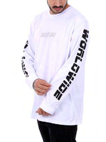 Camiseta Double-G Worldwide manga longa branca