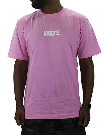 camiseta wats classic pink/white