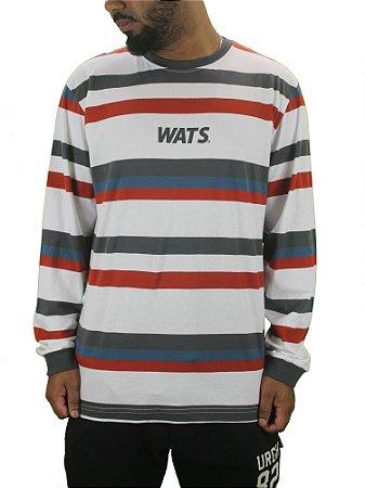 camiseta wats listrada manga longa