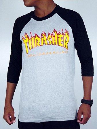 Camiseta Thrasher Raglan Flame 3/4