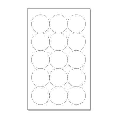 Etiquetas / Adesivos Couche / Redondo 5,2cm - 10 Folhas (150 Adesivos)