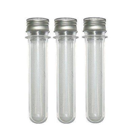 Tubete Acrílico 13cm - Tampa Metal Prata - Kit c/ 10 unidades