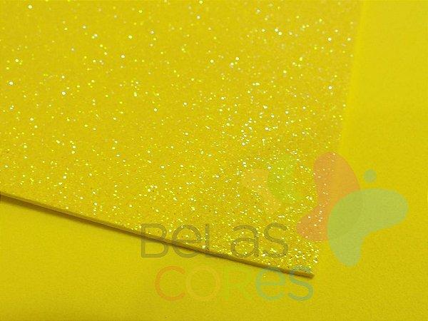 Folha de EVA 40x60cm - Glitter Neon Amarelo - 5 unidades