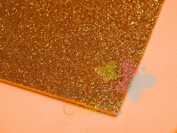 Folha de EVA 40x60cm - Glitter Ouro Velho - 5 unidades