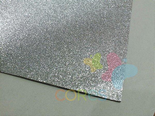 Folha de EVA 40x60cm - Glitter Prata - 5 unidades