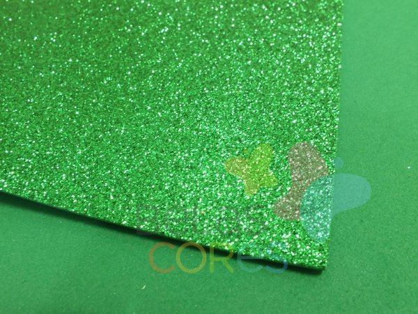 Folha de EVA 40x60cm - Glitter Verde - 5 unidades