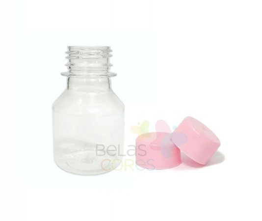 Garrafinha PET Pitoca 70 ml - Tampa Rosa - 10 unidades