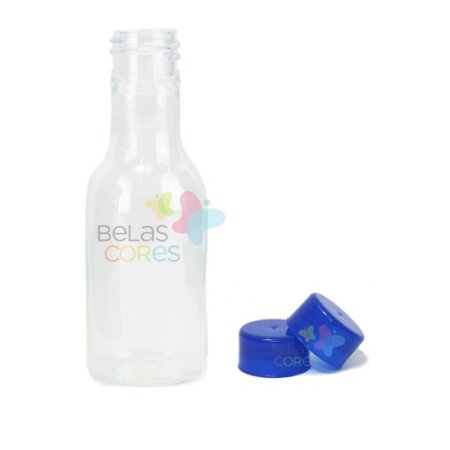 Garrafinhas Plásticas 50ml - Pet - Tampa Plástica Azul Royal - Kit c/ 50