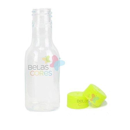 Garrafinhas Plásticas 50ml - Pet - Tampa Plástica Verde Limão - Kit c/ 50
