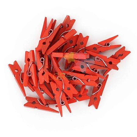 Mini Prendedorzinho / Pregador de Madeira 25mm Cor Vermelho - Kit c/ 100 unidades