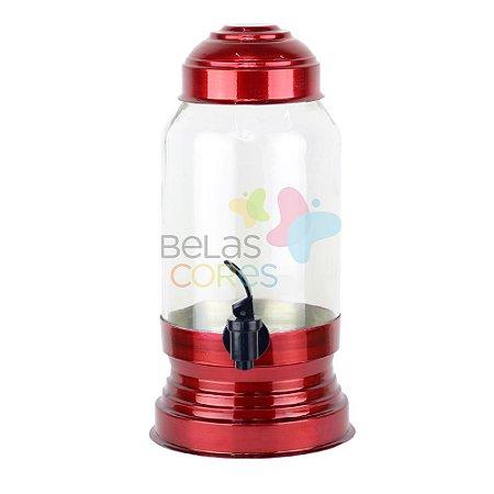 Suqueira de Vidro 3,25 Litros - Vermelha - 01 unidade