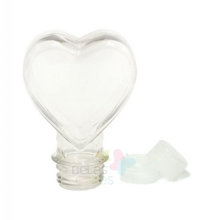Tubete Pet Coração 100 ml Tampa Transparente - 10 unidades