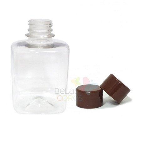 Frasco Quadrado 250 ml Tampa Marrom - 10 unidades