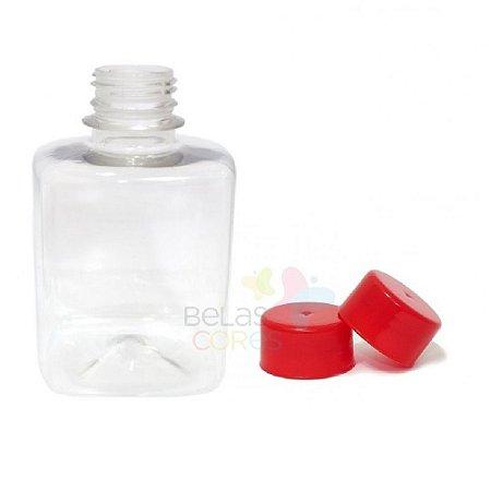 Frasco Quadrado 250 ml Tampa Vermelha - 10 unidades